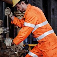 Construction worker wearing safety work gear